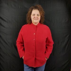 Vintage Eileen Fisher Wool Blend Red Coat - 2X